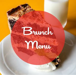 brunch menu with chocolate cake background