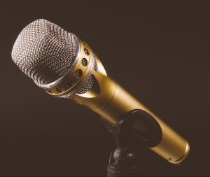 gold mic on a stand