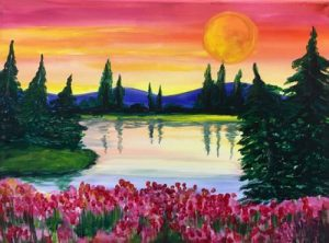 Moonrise over the Mountains painting