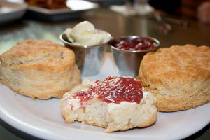 fresh biscuits with butter and jelly